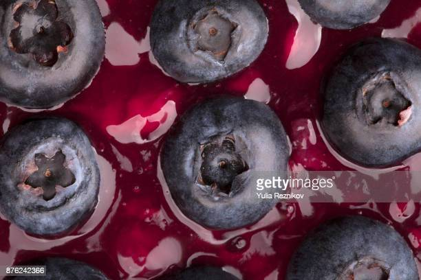 Blueberries with jam in close-up