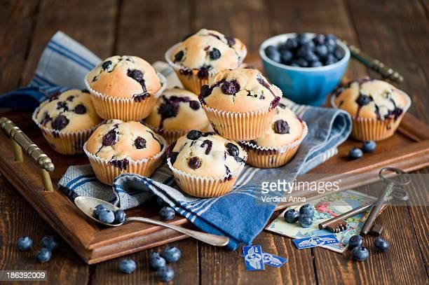 blueberry cakes - anna verdina stock photos and pictures