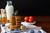 blueberry homemade pancake with sweet honeymilk