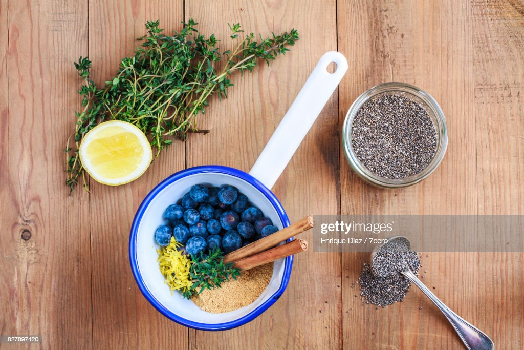 Blueberry Jam with Chia Seeds : Stock Photo