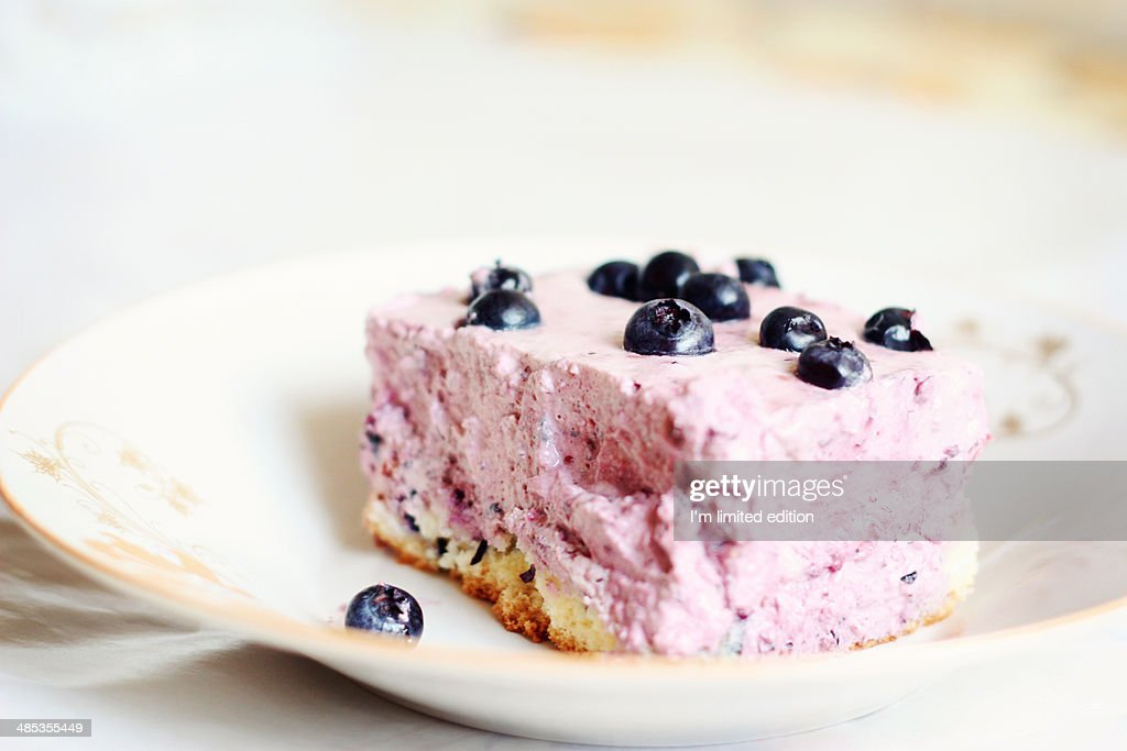 Blueberry moose cake on a plate : Stock Photo