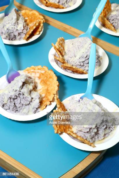 Blueberry Shaved Cream prepared by Chef Tony Quach served during Street Eats hosted by Ghetto Gastro at Industria on October 14 2017 in New York City