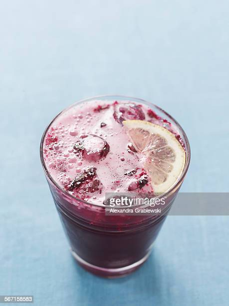Blueberry Soda from Above with Lemon