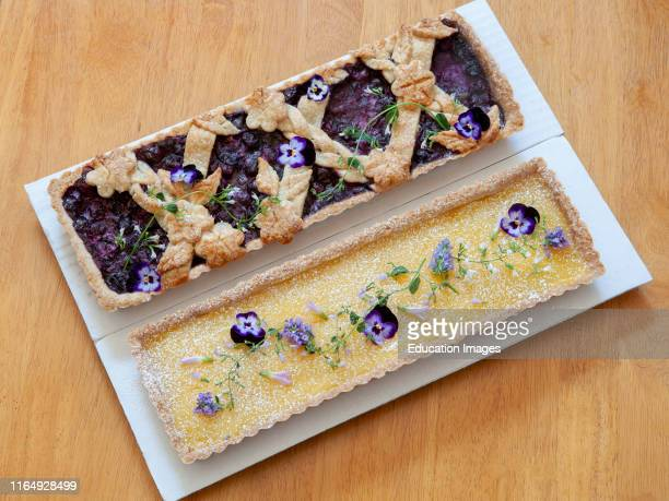 Blueberry Tart and Lemon Tart with Edible Flowers