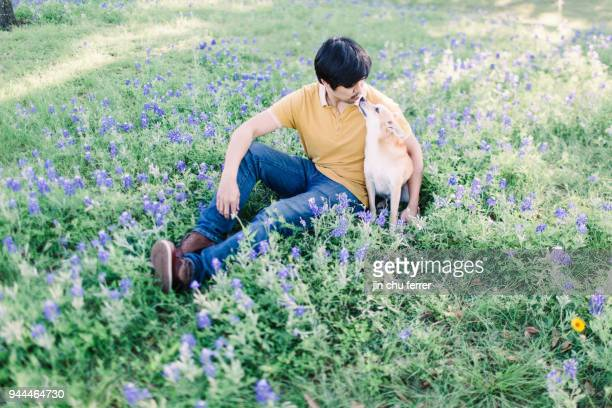 Bluebonnet Field with Father and Son