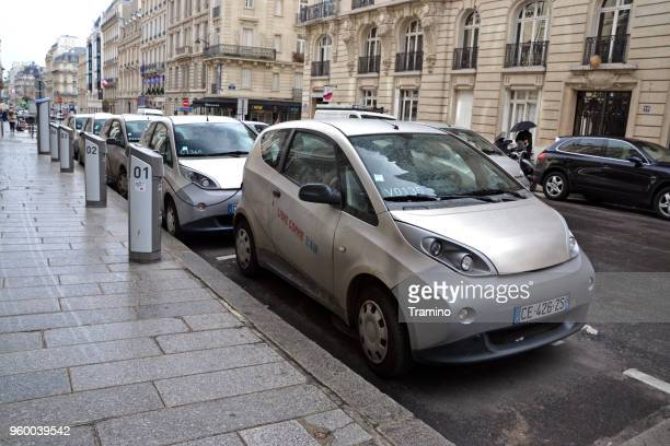 Bluecar vehicles on the parking and charging points