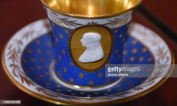 """Bluecher portrait cup from the Royal Porcelain Factory in Berlin can be seen at the new permanent exhibition of the museum """"Zum Arabischen Coffe..."""