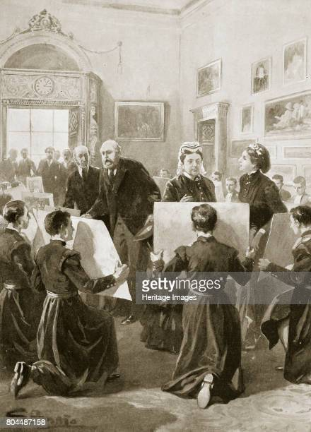 Bluecoat schoolboys showing their drawings to Queen Victoria 3 April 1873 At Buckingham Palace London From The Illustrated London News 1901