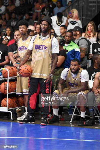 Blueface, 2 Chainz and The Game play in the BETX Celebrity Basketball Game Sponsored By Sprite during the BET Experience at Los Angeles Convention...