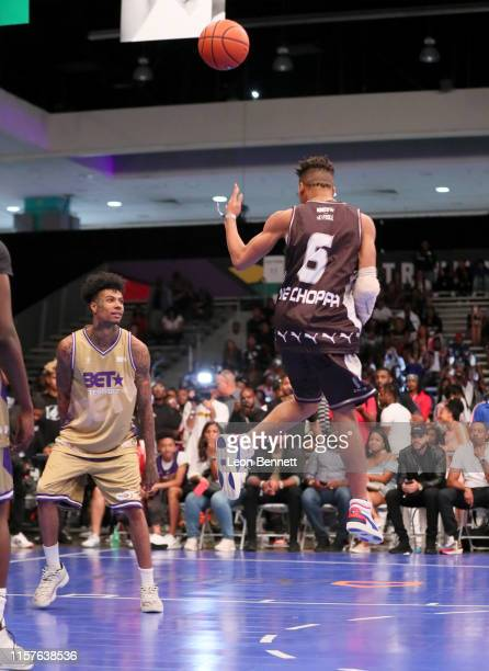 Blueface and NLE Choppa play in the BETX Celebrity Basketball Game Sponsored By Sprite during the BET Experience at Los Angeles Convention Center on...