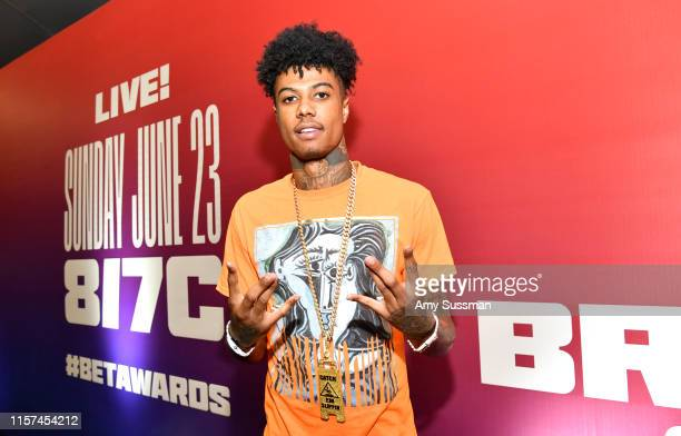 Blueface attends the BET Awards 2019 Radio Broadcast Center at Microsoft Theater on June 21 2019 in Los Angeles California