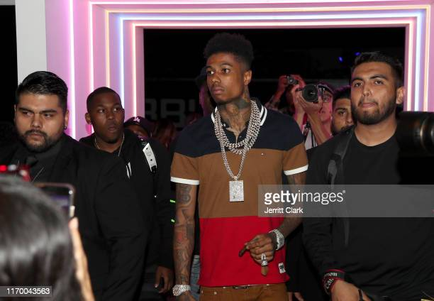 Blueface attends the Stiiizy Retail launch event In Los Angeles at Hubble Studio on August 24, 2019 in Los Angeles, California.