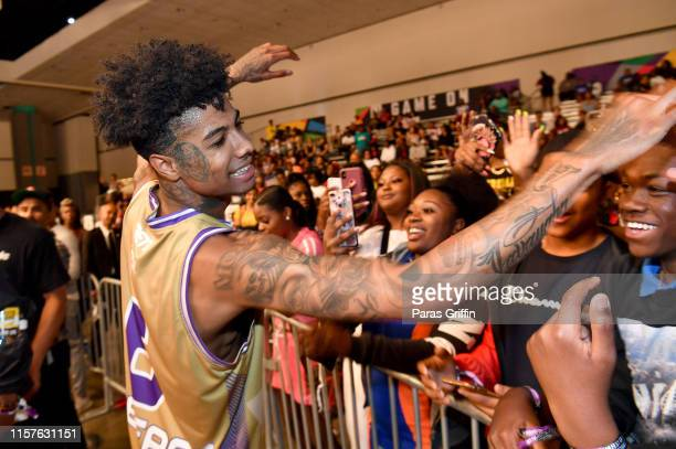 Blueface interacts with fans at the BETX Celebrity Basketball Game Sponsored By Sprite during the BET Experience at Los Angeles Convention Center on...