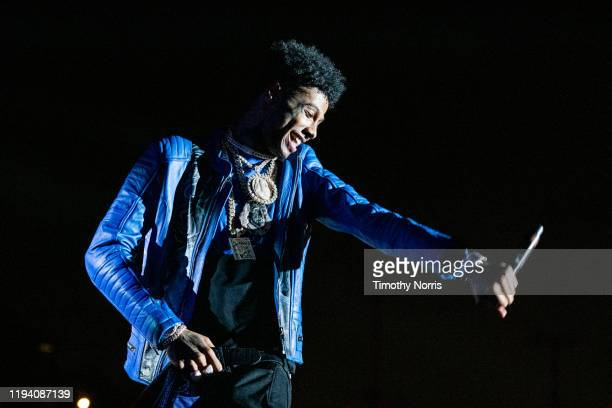 Blueface performs during 2019 Rolling Loud LA at Banc of California Stadium on December 14, 2019 in Los Angeles, California.