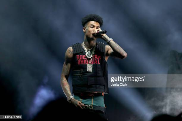 Blueface performs onstage as Fashion Nova Presents Party With Cardi at Hollywood Palladium on May 8 2019 in Los Angeles California
