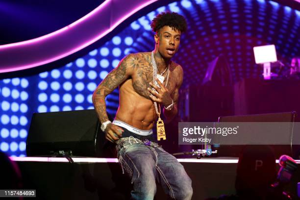 Blueface performs onstage at the 2019 BET Experience STAPLES Center Concert Sponsored By CocaCola at Staples Center on June 21 2019 in Los Angeles...