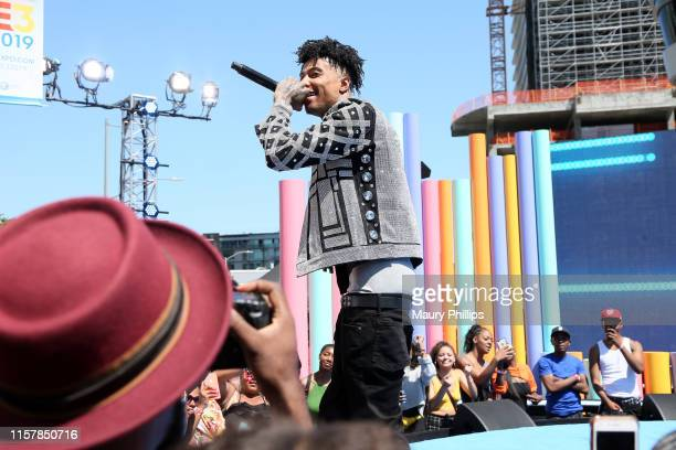 Blueface performs onstage during the Pre Show at the 2019 BET Awards at Microsoft Theater on June 23 2019 in Los Angeles California