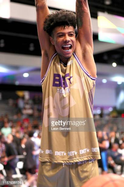 Blueface plays in the BETX Celebrity Basketball Game Sponsored By Sprite during the BET Experience at Los Angeles Convention Center on June 22 2019...