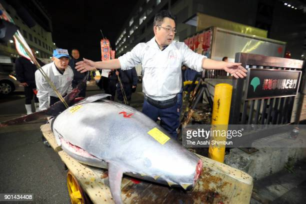 A bluefin tuna is carried to a Sushizanmai restaurant after the year's first auction at Tsukiji Market on January 5 2018 in Tokyo Japan Yamayuki...