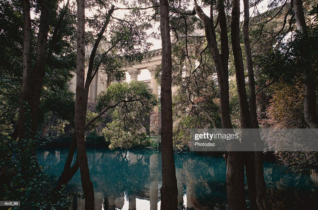 blue-green water gathers among green trees in front of large white pillars supporting a bridge : Foto de stock