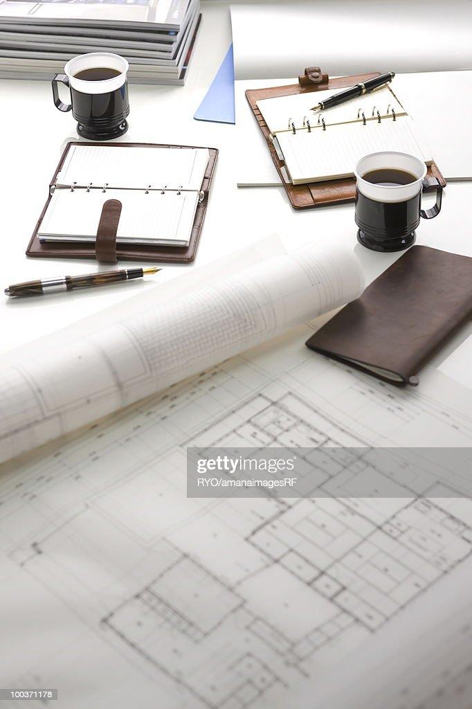 Blueprint coffee and diary on a desk stock photo getty images blueprint coffee and diary on a desk stock photo malvernweather Choice Image