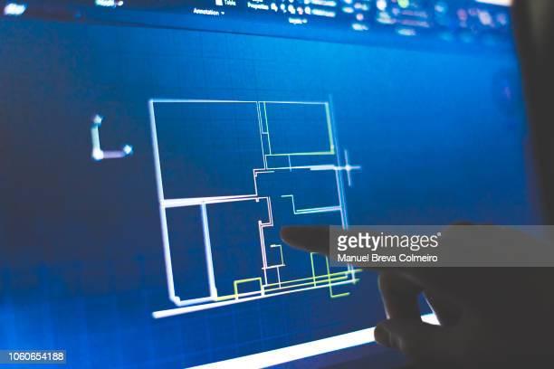 blueprint - rechnerunterstütztes konstruieren stock-fotos und bilder