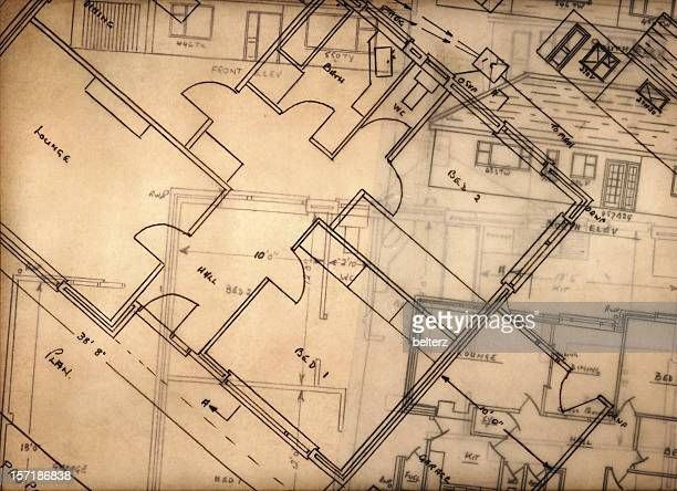 Blueprints and floor plans on transparent papers