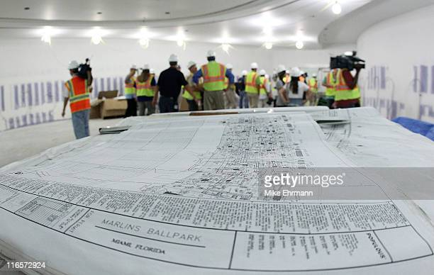 Baseball blueprint stock photos and pictures getty images blueprints of the new marlins ballpark lie on a table during a media tour on june malvernweather Choice Image