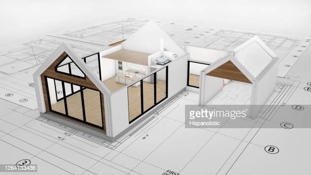 blueprints with a 3d render of a beautiful two story house on top - council flat stock pictures, royalty-free photos & images