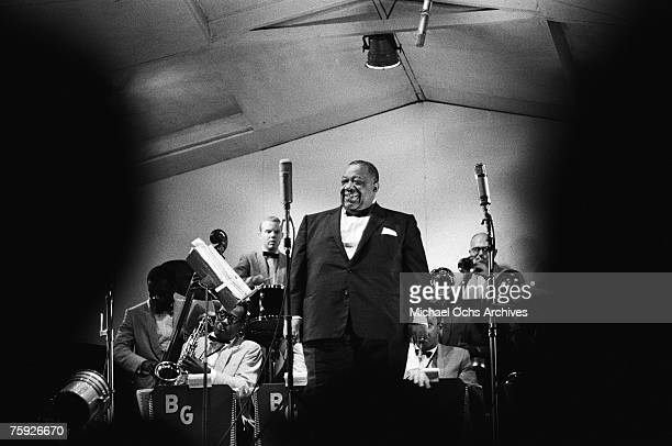 """Blues and jazz singer Jimmy Rushing, nicknamed """"Mr. Five-by-Five,"""" performs with the Benny Goodman Orchestra at the American Jazz Festival in July..."""