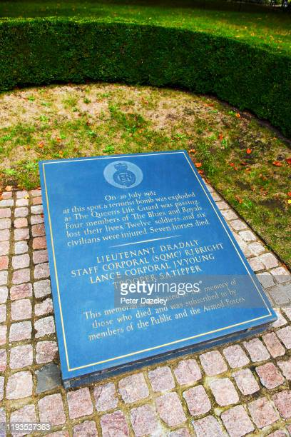 Blues and Royal Memorial for the 1982 bombing in Hyde Park by the IRA which killed four soldiers of the Blues and Royals regiment and seven of their...