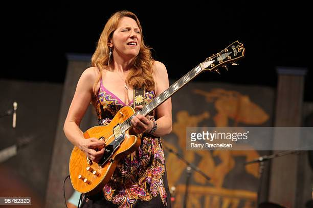 Blues and soul singer and guitarist Susan Tedeschi performs during day 5 of the 41st Annual New Orleans Jazz Heritage Festival at the Fair Grounds...