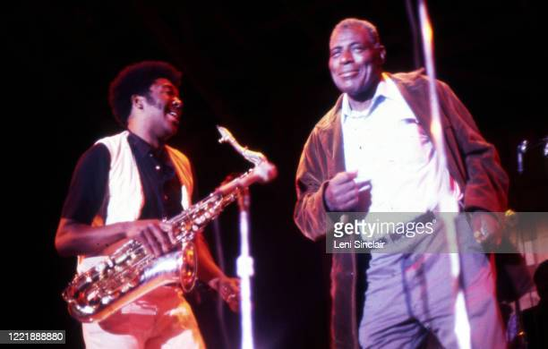 Blues artist Howlin' Wolf with Eddie Shaw on saxophone performing at the Ann Arbor Blues Jazz Festival at Otis Spann Memorial Field on September 10...