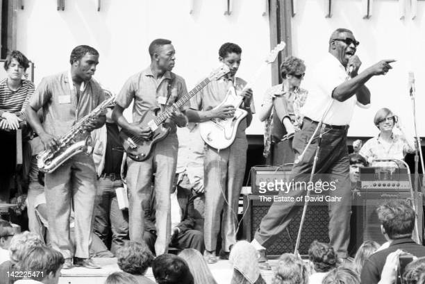Blues artist Howling Wolf and his band perform in July 1966 at the Newport Folk Festival in Newport Rhode Island