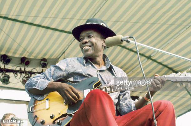 Blues Artist John Lee Hooker performs at the Griffin Hollow Ampitheatre during the Ann Arbor Blues and Jazz Festival in Exile on September 8 1974 in...