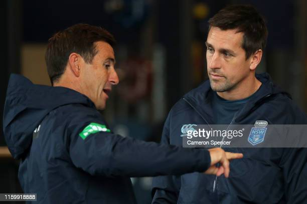 Blues assistant coach Andrew Johns talks to Mitchell Pearce of the Blues during a New South Wales Blues State of Origin training session at the NSWRL...