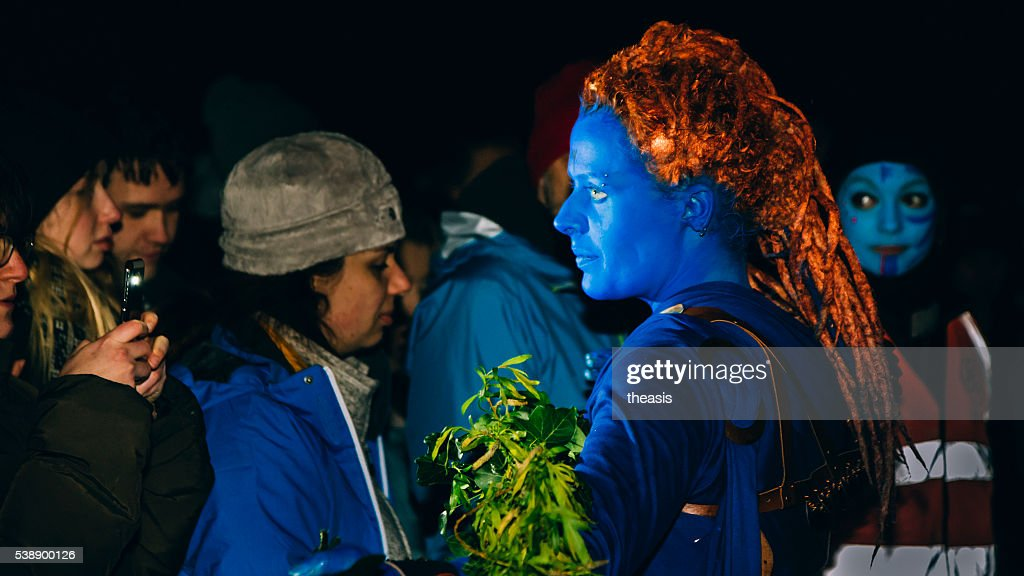 Blues at the Beltane Fire Festival, Edinburgh : Stock Photo