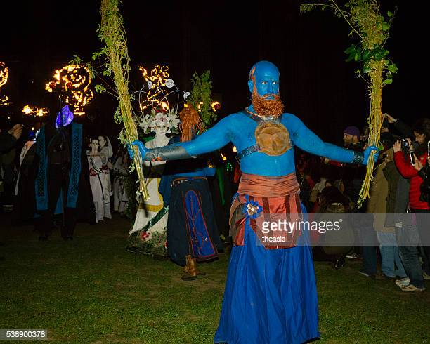 blues at the beltane fire festival, edinburgh - theasis stock pictures, royalty-free photos & images