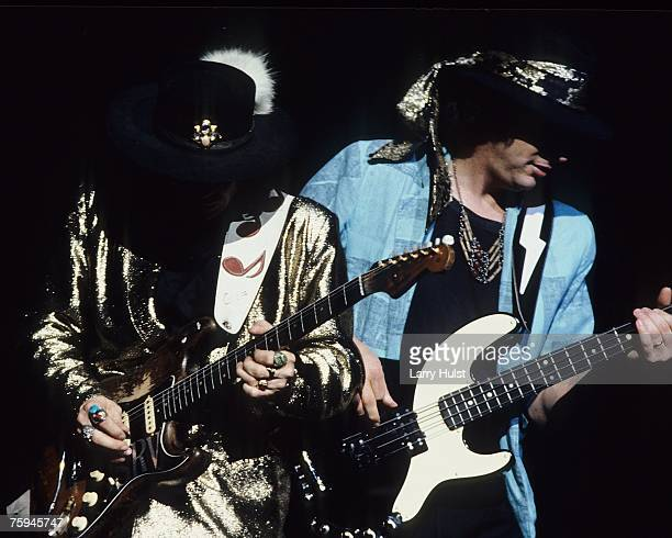 Blues band Stevie Ray Vaughan and Double Trouble perform onstage in circa 1986.