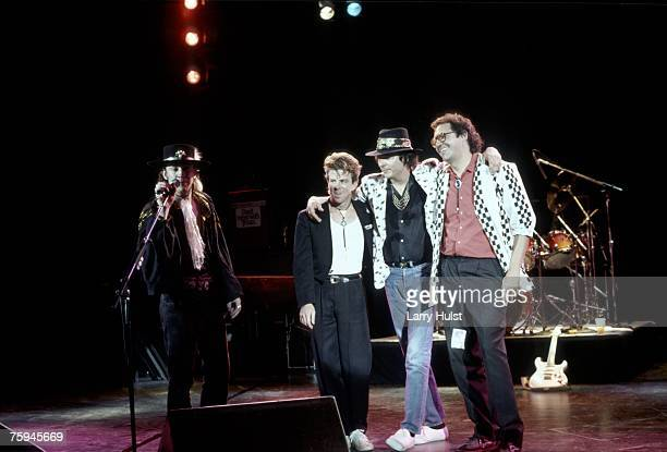 Blues band Stevie Ray Vaughan and Double Trouble take a bow after performing onstage in circa 1987.