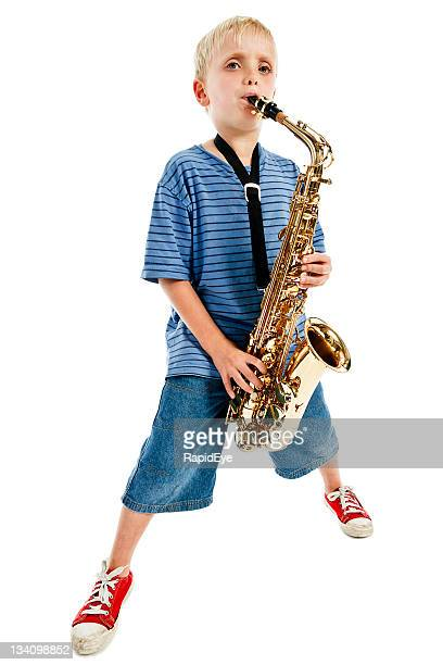 Blues boy playing saxophone