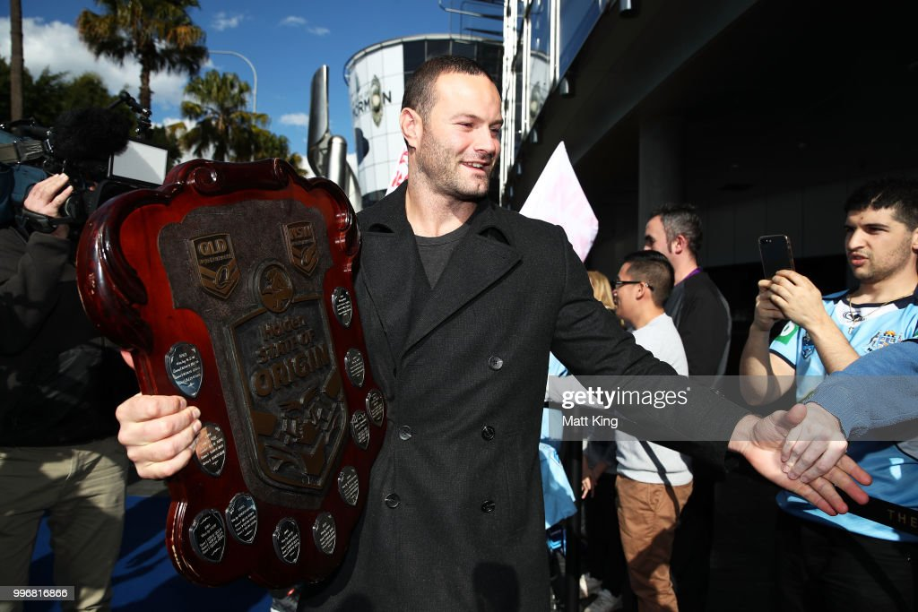 Blues captain Boyd Cordner arrives at a New South Wales Blues public reception after winning the 2018 State of Origin series at The Star on July 12, 2018 in Sydney, Australia.