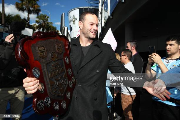 Blues captain Boyd Cordner arrives at a New South Wales Blues public reception after winning the 2018 State of Origin series at The Star on July 12...