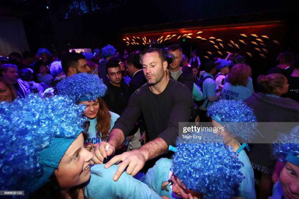 Blues captain Boyd Cordner interacts with fans during a New South Wales Blues public reception after winning the 2018 State of Origin series at The Star on July 12, 2018 in Sydney, Australia.