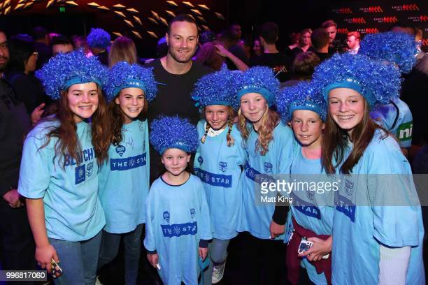 Blues captain Boyd Cordner interacts with fans during a New South Wales Blues public reception after winning the 2018 State of Origin series at The...