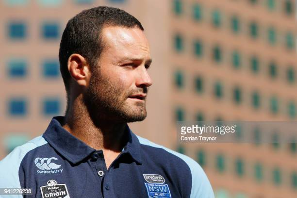 Blues Captain Boyd Cordner takes the stage during the 2018 State of Origin launch at Arbory Afloat on April 3 2018 in Melbourne Australia