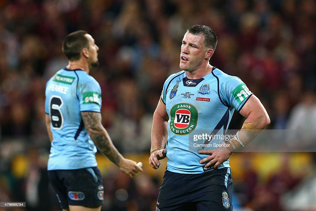 Blues captain Paul Gallen looks dejected during game three of the State of Origin series between the Queensland Maroons and the New South Wales Blues at Suncorp Stadium on July 8, 2015 in Brisbane, Australia.