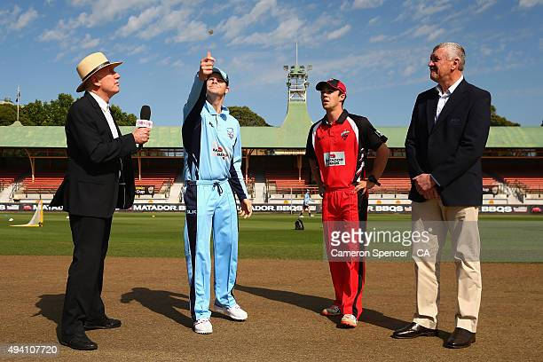 Blues captain Steve Smith tosses the coin with Redbacks captain Travis Head during the Matador BBQs One Day Cup final match between New South Wales...