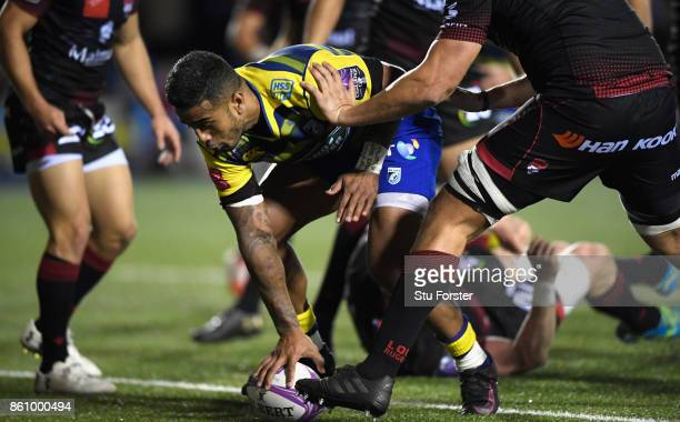 Blues centre Rey LeeLo scores his sides fourth try of the evening during the European Rugby Challenge CUP Match between Cardiff Blues and Lyon at...