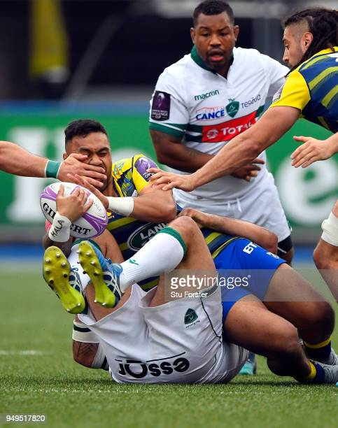 Blues centre Willis Halaholo receives a hand to the face during the European Challenge Cup SemiFinal match between Cardiff Blues and Section Paloise...